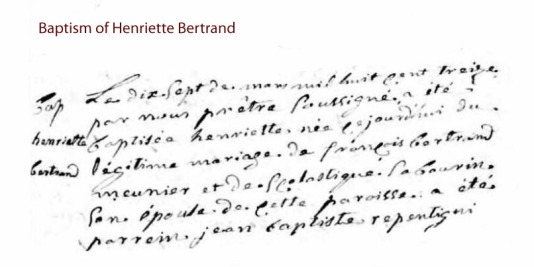 Baptism Henriette Bertrand