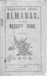 Hanington Bros Almanac 1884