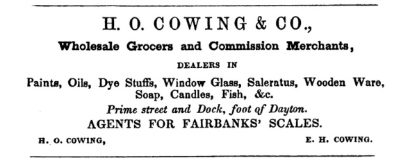 Cowing ad 1850-51 directory crop