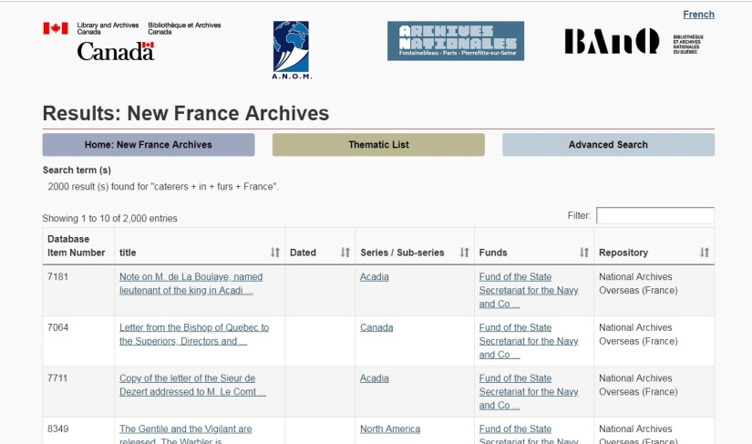 new france archives results fur